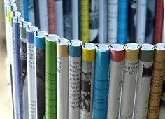 Paper Tube Waste Paper Basket... inspiration idea: same idea for lamp shade, vase cover, larger version for magazine basket, catch all bin