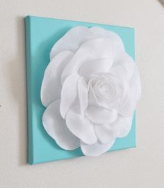 "Rose Wall Hanging- White Rose on Tiffany Blue Solid 12 x12"" Canvas Wall Art- 3D Felt Flower. $34.00, via Etsy."