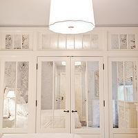 Christina Murphy Interiors - bedrooms - scallop pendants, scallop bedroom pendants, gray bedroom ceiling, painted bedroom ceiling, wall to w...