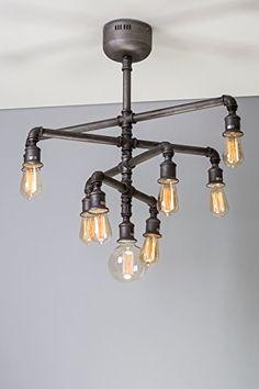 Diseño de lámpara de araña para tuberías de Steampunk vintage industrial edison Lámpara de techo luces 9 bombillas de bajo consumo