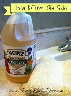DIY toner: Treat Oily Skin With Apple Cider Vinegar. Wash face clean of any makeup. Mix 1 part apple cider vinegar with 3 parts water. Apply mixture to face and leave for about 5 minutes. Wash clean. | best stuff