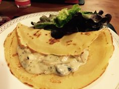 Home made crepes with chicken in champignons sauce!