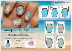 Starfish Nail Art Tutorial .x.  http://www.naildeesignz.blogspot.co.uk/2013/07/starfish-nails.html