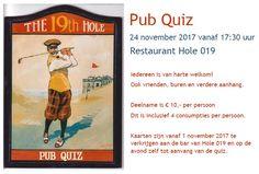 Pub Quiz bij Golfclub Capelle! Bar, Club, Baseball Cards