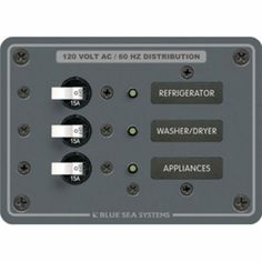 Blue Sea 8058 AC 3 Position Toggle Circuit Breaker Panel (White Switches)