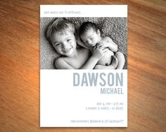modern sibling birth announcement by Little Bird Paperie