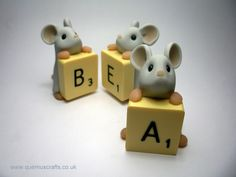 Quernus Crafts — Little Mouse with Scrabble Tile Personalised Gift Ornament Sculpture