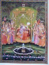 Radha Krishna Jhula II painting by Rajendra Khanna | ArtZolo.com