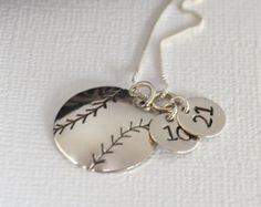 Hand-Stamped Baseball or Softball Necklace with Two Circle Charms stamped with Numbers- Baseball Mom Necklace Baseball Boys, Softball Mom, Baseball Shirts, Fastpitch Softball, Softball Things, Softball Stuff, Baseball Stuff, Volleyball, Football