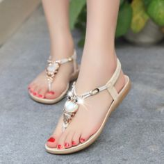 c9edc71cd43d Beautiful Pearl Jewel Ankle T-Strap Sandals Strap Sandals