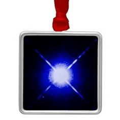 Sirius A and B - brightest glowing star metal christmas ornamanent
