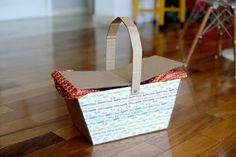 Estéfi Machado: Picnic no meio da sala * cesta de picnic de papelão