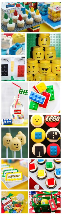 lego party birthday dessert table food cake cupcake favor
