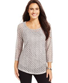 Jm Collection Pullover Crochet Top, Only at Macy's