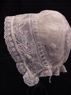 Fabulous-Antique-Victorian-Embroidered-Net-Lace-Baby-Bonnet