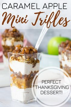 This Caramel Apple Trifle recipe is the perfect treat for your Thanksgiving feast. Each mini cup is filled with layers of tasty whipped cream, cinnamon apple, and homemade caramel sauce. Click image for full recipe and quick video! Party Desserts, Mini Desserts, Delicious Desserts, Dessert Recipes, Healthy Desserts, Appetizer Recipes, Trifle Desserts, Chef Recipes, Plated Desserts