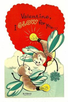 Anthropomorphic Firefly Lightening Bugs Glow for You Vintage Valentine