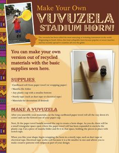Make Your Own Vuvuzela stadium horn for World Cup or to cheer on your favorite sports team! Craft activity plus history of the vuvuzela here!