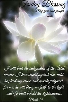 "FRIDAY BLESSING: Micah 7:9 (1611 KJV !!!!) "" I will bear the indignation of the LORD, because I have sinned against him, until he plead my cause, and execute judgement for me: he will bring me forth to the light, and I shall behold his righteousness."" MAY YOUR SOUL PROSPER. AMEN. Friday Morning Quotes, Happy Friday Quotes, Good Morning Quotes, Good Morning Prayer, Morning Blessings, Morning Prayers, Treasures In Heaven, Good Morning Inspirational Quotes, Biblical Womanhood"