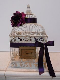 Large Vintage style Wedding/Birdcage/Card holder With purple calla lilies instead Wedding Ideas Do It Yourself, Cute Wedding Ideas, Wedding Inspiration, Plum Wedding, Rustic Wedding, Dream Wedding, Wedding Day, Wedding Gift Boxes, Wedding Cards