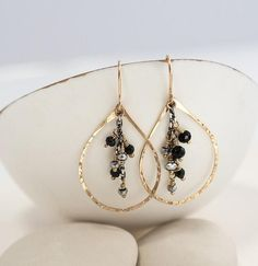 40f4d6fab Hematite and Onyx Chandelier Earrings- Chandelier Earrings- Beaded Earrings-  Beaded Jewellery- Leaf