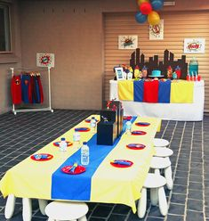 Superhero Party (skyline backdrop, signs, table decor, capes)