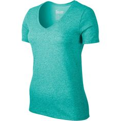 Nike Short-Sleeve DFC V-Neck T-Shirt Green ($20) ❤ liked on Polyvore featuring activewear, activewear tops, tops, nike, nike sportswear and nike activewear