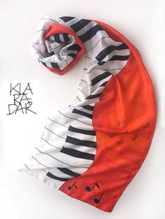 Music scarf. Hand painted silk scarves. Red silk shawl painted. Long fashion scarf. Bright silk scarf. Gift for Her. Gift For Musician. Red wrap. Fabulous gift for anybody who loves music! Dimensions- 17 by 70 inch This Bright Red scarf is painted on pure silk pongee 8, a luxurious silk
