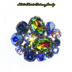 Regency signed Pin – Watermelon Rivoli & Aurora Borealis Stones