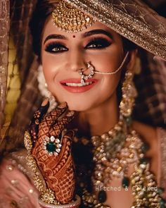Fashion Beauty Lifestyle : 51 Most Beautiful Indian Bridal Makeup Looks and C. Indian Wedding Couple Photography, Indian Wedding Bride, Indian Wedding Makeup, Indian Bride Poses, Funny Couple Photography, Mehendi Photography, Bridal Hairstyle Indian Wedding, Pakistani Bridal Makeup, Indian Bride And Groom