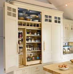 built in pantry cupboard matches cabinets kitchen