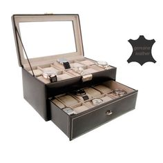 Watch display box for 20 watches big sphere black leather has been published to http://www.discounted-quality-watches.com/2013/08/watch-display-box-for-20-watches-big-sphere-black-leather/