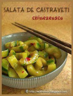 salata chinezeasca de castraveti Cold Vegetable Salads, Veggie Recipes, Veggie Food, Chinese Food, Pickles, Cucumber, Vegetarian, Vegan, Dinner