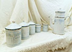 Antique French 5 Piece White and Blue Enamel Art Nouveau Canister Set, Flour ,Coffee, Pasta, Tea and Pepper / Enameled Canister Set on Etsy, $145.00