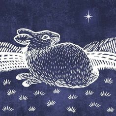 Christmas Rabbit Lino Blue Low Res, Valerie Greeley, Representing leading artists who produce children's and decorative work to commission or license. Art And Illustration, Illustrations, Lapin Art, Rabbit Art, Scratchboard, Guache, Inspiration Art, Sgraffito, Art Graphique