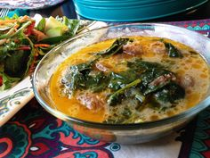 Italian sausage and kale soup with coconut milk - Whole30 compliant
