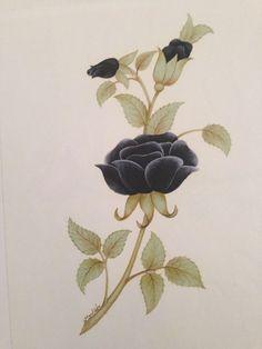 Siyah gül tezhip tarama çiçek çalışması Indian Prints, Botanical Flowers, Islamic Calligraphy, Textile Prints, Botanical Illustration, Illustrations, Islamic Art, Watercolor Flowers, Sculpture Art