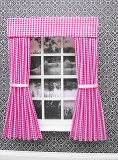 MINIATURE DOLLS HOUSE PINK CHECK CURTAINS AND PELMET 12CM WIDE NEW - http://dolls.goshoppins.com/dollhouse-miniatures/miniature-dolls-house-pink-check-curtains-and-pelmet-12cm-wide-new/