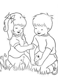 Раскраска Дети и птенец, скачать и распечатать раскраску раздела Лето