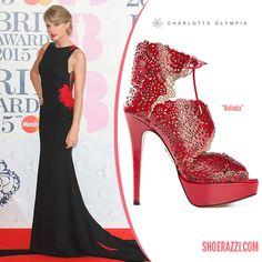 Taylor Swift in Roberto Cavalli Atelier custom dress, Charlotte Olympia 'Belinda' sandals and Lorraine Schwartz jewelry – 2015 #BRIT Awards @colympia