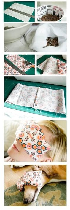 DIY Eye Pillow -- They help to ease any tension around the eyes , allowing the muscles in the face to release more. And with a wonderful lavender scent, the aroma itself is relaxing too. They are so easy to make, and because they are small you could sew them by hand if you don't have a sewing machine. -They also make great gifts. by KayVee