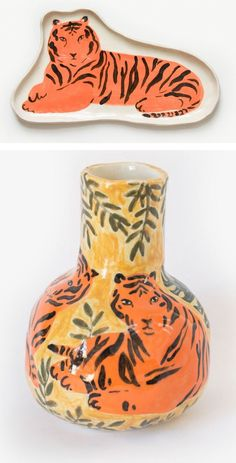 Illustrated ceramics by Leah Goren | tiger | tiger vase | painted tigers | hand crafted ceramics