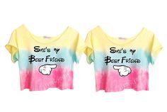 "TWO OMBRE PASTELS ""She's My Best Friend"" Unique Tie Dye Crop Top Retro Custom Shirt"
