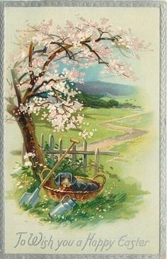 TO WISH YOU A HAPPY EASTER  dog in basket at base of blossom tree