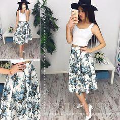 Женский модный костюм: топ и юбка-миди (расцветки), фото 2