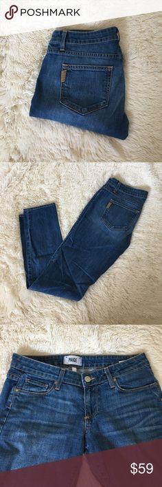 """Paige Jimmy Jimmy Skinny Jeans Classic skinnies from Paige denim in the the Jimmy Jimmy Skinny style. The perfect medium blue wash with subtle wiskering at the hip and fading on the thighs. 65% cotton, 18% lyocell, 16% polyester, 1% elastane. Size 25. Approx 7.5"""" rise and 31"""" inseam. Excellent condition. Paige Jeans Jeans Skinny"""