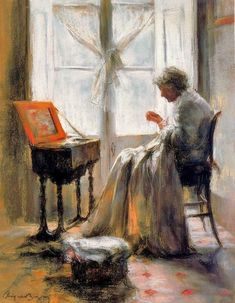 Cayetano De Arquer-Buigas (Spanish painter, b 1932) Woman Sewing--love this