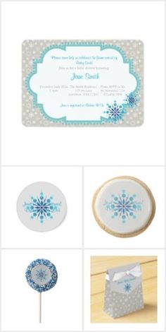 Blue Snowflake Baby Shower Collection
