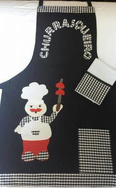 Avental masculino com aplicação de churrasqueiro, confeccionado com oxford e um pano de prato                                                                                                                                                                                 Mais
