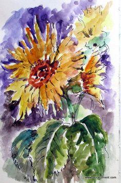 Russia, Gardens, Watercolor, Flowers, Plants, Painting, Art, Watercolors, Watercolor Painting